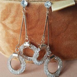 Gold Drop dangled double hoop earrings